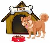 Perro y casa — Vector de stock