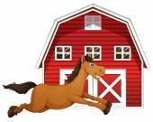Paard en de schuur — Stockvector