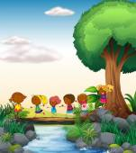 Children and river — Stock Vector