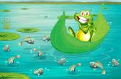 Frog and pond — Stock Vector