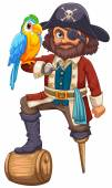 Pirate and parrot — Stock Vector