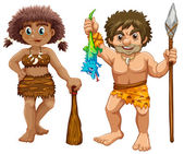 Cavemen Illustration — Stock Vector