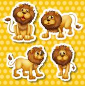 Lion set Illustration — Stock Vector