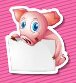Pig and paper Illustration — Stock Vector
