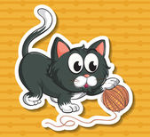 Cat and string — Vector de stock