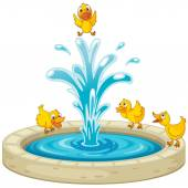 Ducks and fountain — Stock Vector
