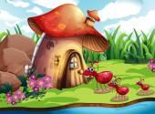 Ant and mushroom — Stockvektor