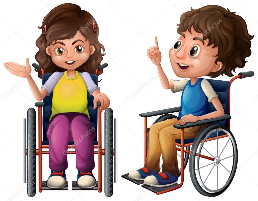 Los ni os y silla de ruedas vector de stock 55558265 depositphotos - Silla de ruedas ninos ...