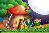 Elf and house — Stockvektor