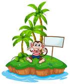 Monkey and island — Stock Vector