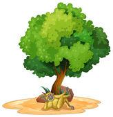 Gibbon and tree — Stock Vector