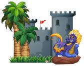Dragon and a castle — Stockvektor