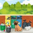 Garbage and dog — Stock Vector #56876485