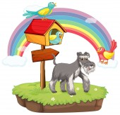 Dog and birdhouse — Vecteur