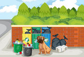 Garbage and dog — Stock Vector