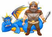 Viking and dragon — Stock Vector