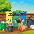 Dog and trashcans — Vector de stock  #56973697