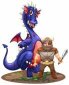 Dragon and viking — Stock Vector