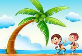 Monkeys and beach — Stock Vector