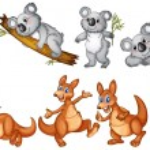 Koalas and kangaroos — Stock Vector #57427433