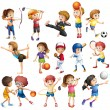 Kids playing sport — Stock Vector #57427437