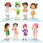 Kids in the bathroom — Stock Vector #57427621