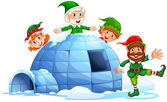 Igloo and elves — Stock Vector
