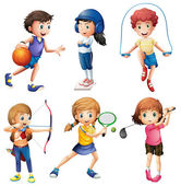Kids playing sport — Stock Vector