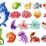 Sea creatures set — Stock Vector #58547347