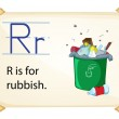 A letter R for rubbish — Stock Vector #58547775