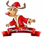Christmas logo with deer — Stock Vector