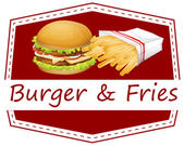 Burger and fries — Stock Vector