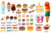 Assorted desserts and sweets — Stock Vector
