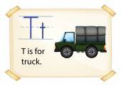 A letter T for truck — Stock Vector
