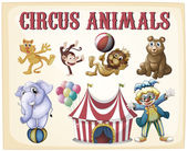 Circus animals — Stock Vector