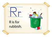 A letter R for rubbish — Stock Vector
