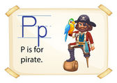 A letter P for pirate — Stock Vector