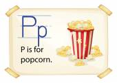 A letter P for popcorn — Stock Vector