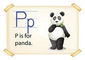 パンダ P の文字 — ストックベクタ