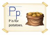 A letter P for potatoes — Stock Vector