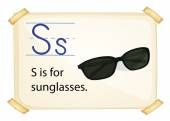 A letter S for sunglasses — Stock Vector