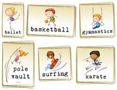 Images of athletic kids — Stock Vector