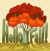 Hello fall — Stock Vector