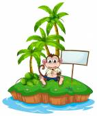 An island with a monkey and a signboard — Stock Vector