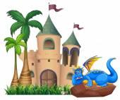 A dragon across the castle — Stock Vector