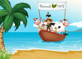 A boat with animals at the beach — Stock Vector