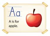 A letter A for apple — Stock Vector
