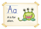 A letter A for alien — Stock Vector