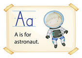 A letter A for astronaut — Stock Vector