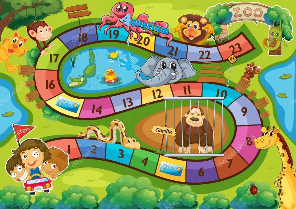 jogos de decorar jardim zoologico:Jogo de tabuleiro — Vetor de Stock © interactimages #59502201